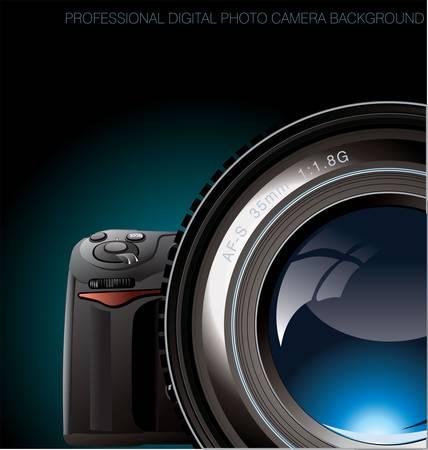 dslr camera: Professional digital photo camera background Illustration