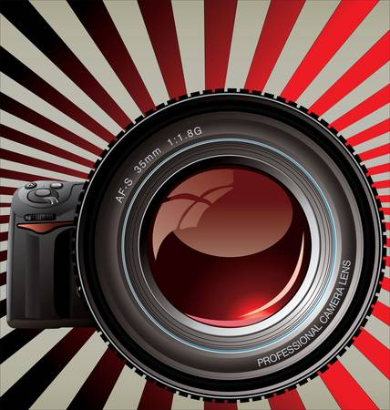 wide angle lens: Professional camera - Retro background  Illustration