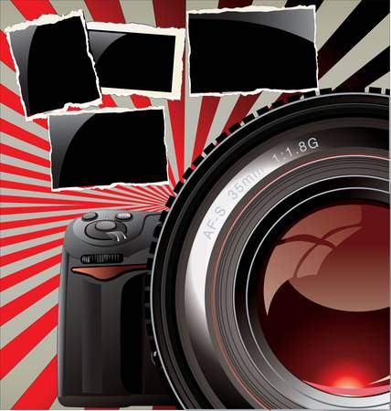 retro background - professional camera and old photo frames Vector