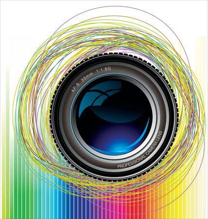 Camera lens colorful background Vector
