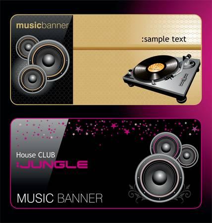 speaker box: Elegant music banners Illustration