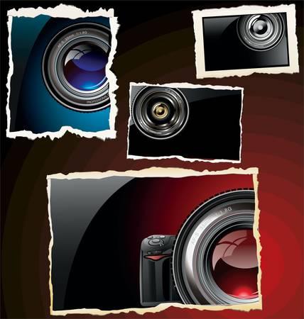electronics parts: Retro photo frames Illustration
