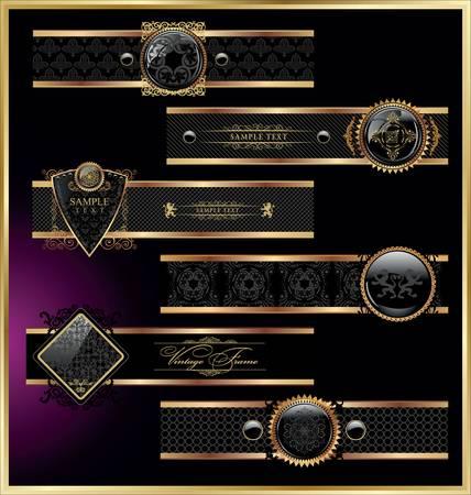 couronne royale: Ensemble de vecteur de cru encadr�s �tiquettes noir et rose