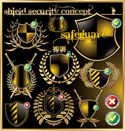 Shield security concept - set Stock Vector - 12852078