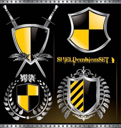 Glossy black and yellow shield emblem set Vector