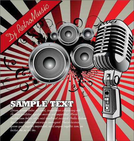 microfono antiguo: Música de fondo Retro Vectores