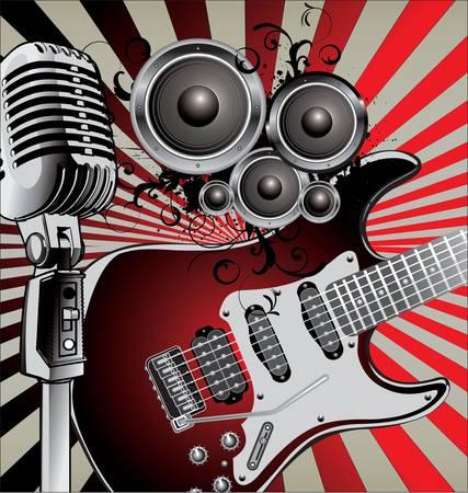 music banner: Retro Muziek Achtergrond Stock Illustratie