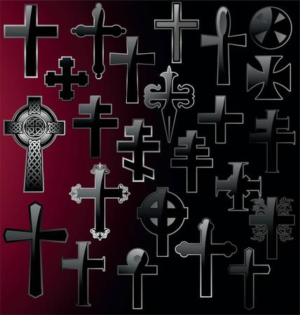 celtic cross: Elegant different Cross - Set vector illustration Illustration