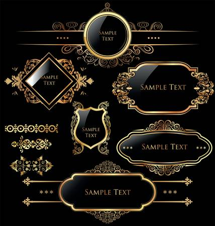 royal: Elegant gold and black labels Illustration