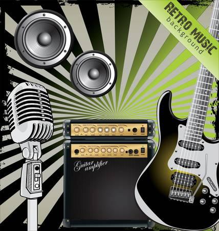 guitar amplifier: Retro music background