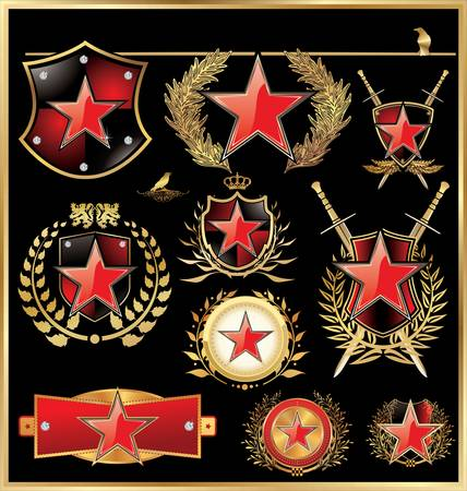 gold plaque: Shield concept with red star Illustration