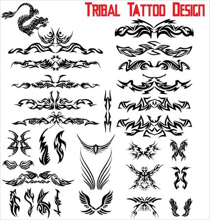 tribal pattern: Tribal Tattoo Design - Set Illustration