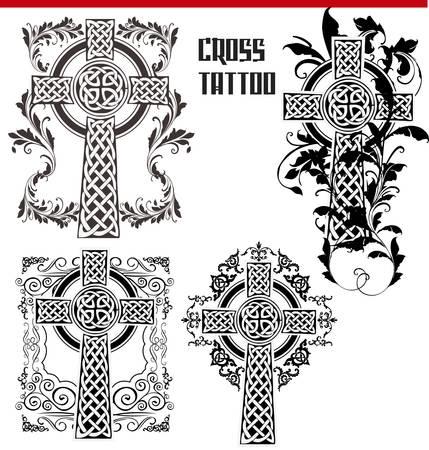 simbolos religiosos: Cruz del tatuaje Vectores