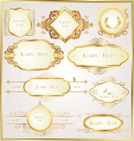 aristocrat: Decorative golden ornate elements Illustration