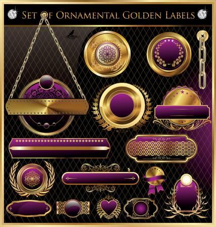 corona real: Etiquetas de Oro enmarcados