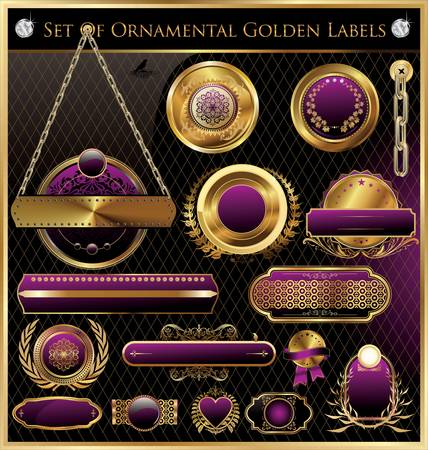 royal background: Golden Framed Labels