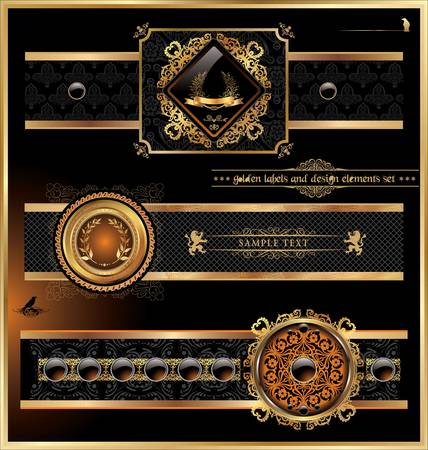 ornamental scroll: Vintage vector black, gold and orange frame label