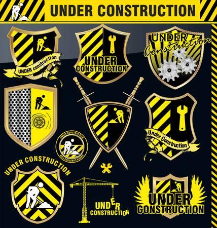shield set: Under construction shield - set Illustration