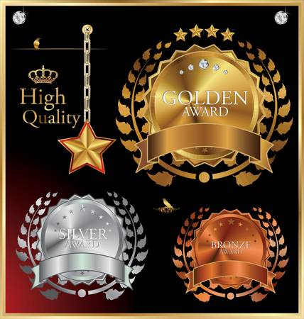 gold silver bronze: Golden Collection From Crowns, Medals, Laurel wreath And star  Illustration