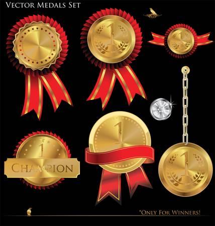 distinction: Vector Medals Set Illustration