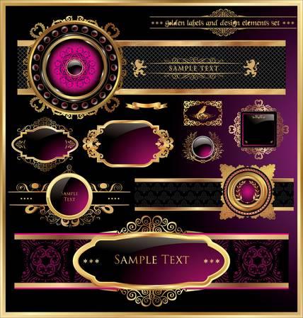 corona navidad: Vector conjunto de negro púrpura - enmarcadas etiquetas