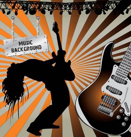 guitariste: Musique de fond r�tro Illustration