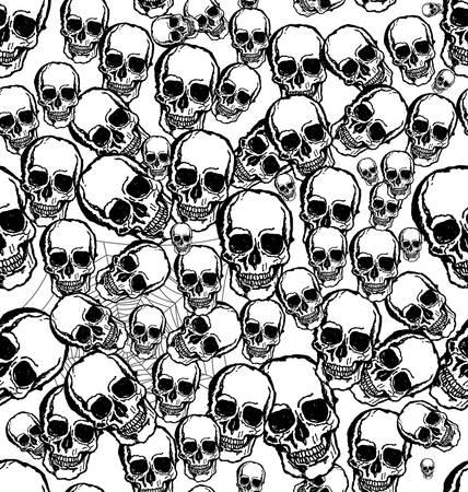 deaths head: Hand drawn Skull seamless background Illustration