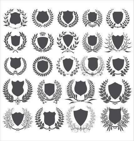 realizować: tarcze i laurowy wieniec kolekcja Ilustracja