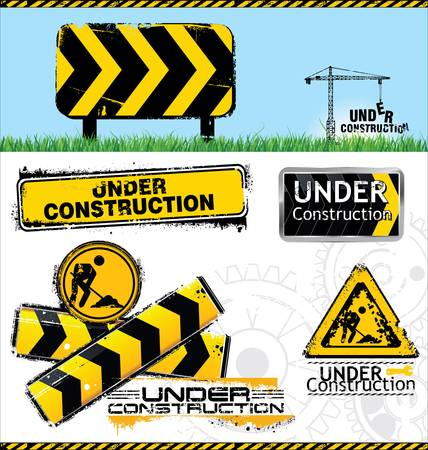under construction sign with man: Under construction signs