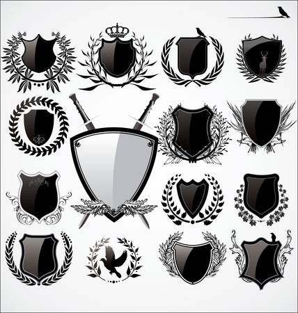 sword and shield: Shields And Laurel Wreath Set