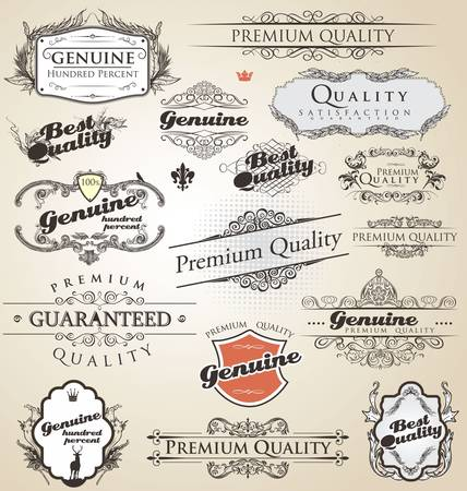 Premium Quality and Satisfaction Guarantee vintage Label collection Stock Vector - 12868418