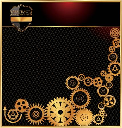 industrial automation: Technology background with golden gears
