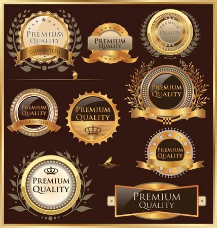 guarantee seal: Etiquetas de calidad Premium de oro y medallones Vectores