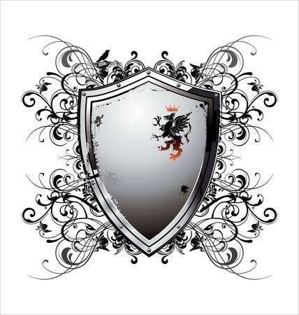 illustration of an abstract metallic shield Stock Vector - 12868417