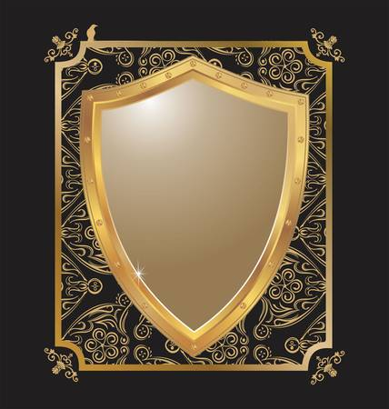 shiny shield: illustration of an abstract metallic shield