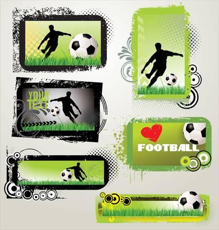 football silhouette: Calcio retr� grunge banner