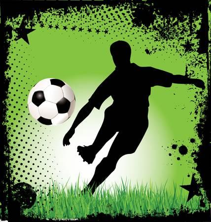 male feet: Soccer Grunge Background
