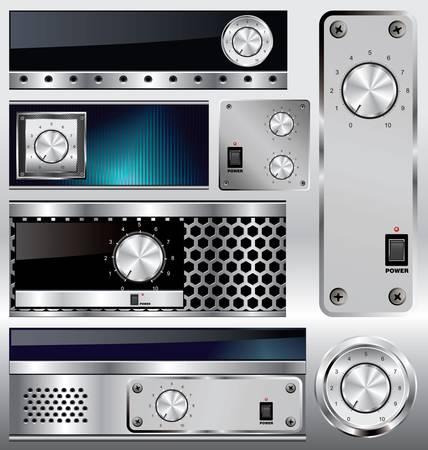 knobs: Metallic banners with volume knob Illustration