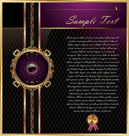 royal background: Vintage framed black and pink background
