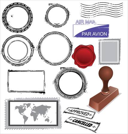 philately: empty postage stamps, rubber stamps and wax seal Illustration