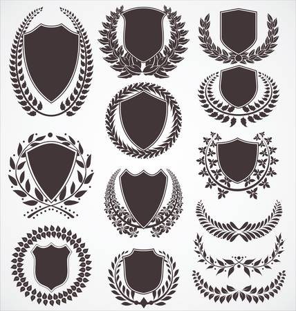 badge shield: Laurel wreath and shield set