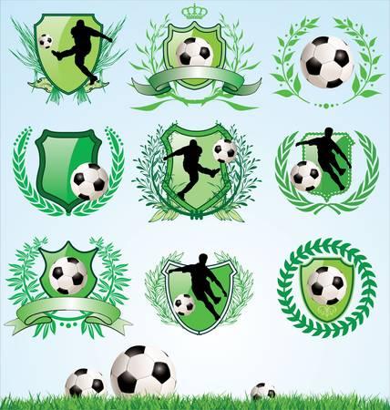 balon soccer: Fútbol escudo y la corona de laurel conjunto