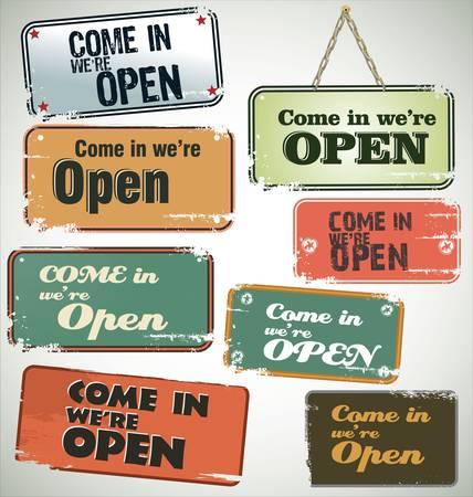 worn sign: Vintage grunge sign Open