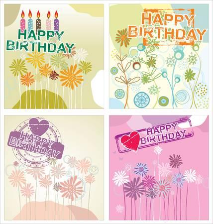 happy birthday text: Happy birthday background - floral set Illustration