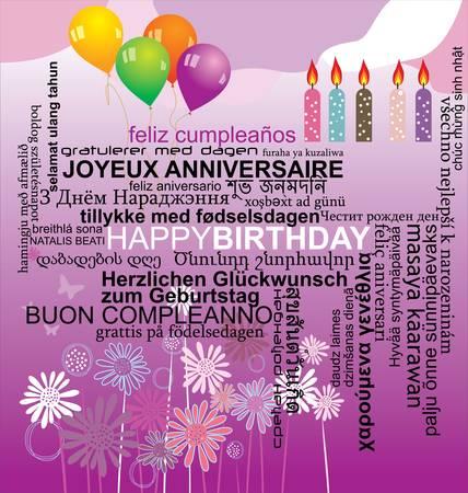 Feliz cumpleaños palabra collage de fondo