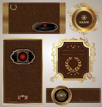 Leather and gold label - set Vector