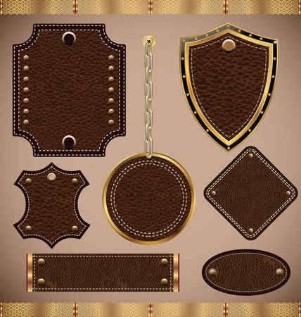 fabric label: set of vector Leather Frame Illustration