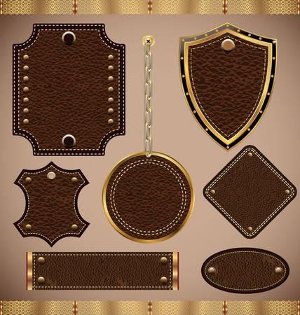 fabric label: set of vector Leather Frame Illustration