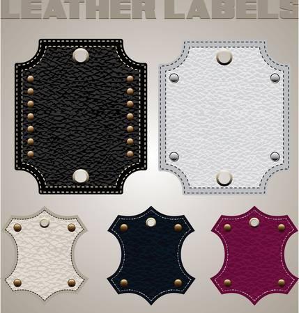 rivet: набор кожа багажных бирок и тега Иллюстрация