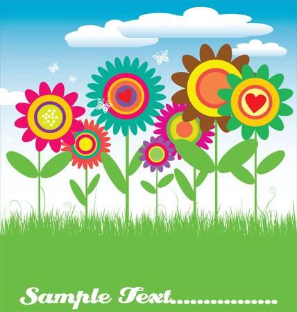 ni�os con pancarta: Tarjeta floral ilustraci�n vectorial